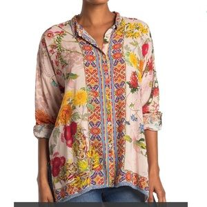 Johnny Was Jaffa Floral Point Collar Blouse